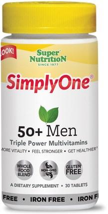 Super Nutrition, SimplyOne, 50+ Men, Triple Power Multivitamins, Iron Free, 30 Tablets 維生素,男性多種維生素