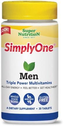 SimplyOne, Men, Triple Power Multivitamins, 30 Tablets by Super Nutrition, 維生素,男性多種維生素 HK 香港