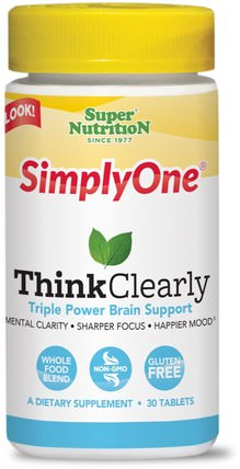 SimplyOne, Think Clearly, 30 Tablets by Super Nutrition, 健康,情緒,注意力缺陷障礙,添加,adhd,腦 HK 香港