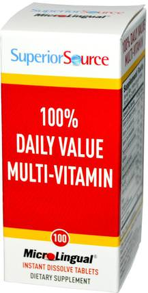 100% Daily Value Multi-Vitamin, 100 MicroLingual Instant Dissolve Tablets by Superior Source, 維生素,多種維生素 HK 香港