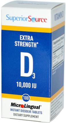 Extra Strength Vitamin D3, 10.000 IU, 100 MicroLingual Instant Dissolve Tablets by Superior Source, 維生素,維生素D3 HK 香港