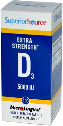 Extra Strength Vitamin D3, 5000 IU, 100 MicroLingual Instant Dissolve Tablets by Superior Source, 維生素,維生素D3 HK 香港