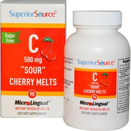 Superior Source, C Sour Cherry Melts, Sugar Free, 500 mg, 90 MicroLingual Instant Dissolve Melts 維生素,維生素C,維生素C咀嚼片