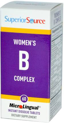 Womens B Complex, 60 MicroLingual Instant Dissolve Tablets by Superior Source, 維生素,維生素B複合物,女性 HK 香港