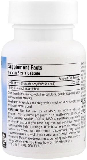 補充劑,5-htp - Source Naturals, 5-HTP, 200 mg, 30 Capsules