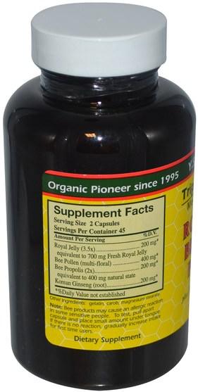 補充劑,adaptogen,蜂產品,蜂王漿 - Y.S. Eco Bee Farms, Royal Jelly, Bee Pollen, Propolis, Plus Korean Ginseng, 90 Capsules