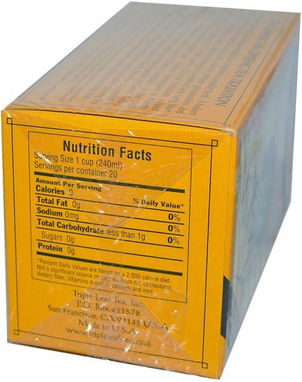 補充劑,adaptogen,感冒流感和病毒,人參美國人 - Triple Leaf Tea, American Ginseng, Caffeine-Free, 20 Tea Bags, 1.4 oz (40 g)