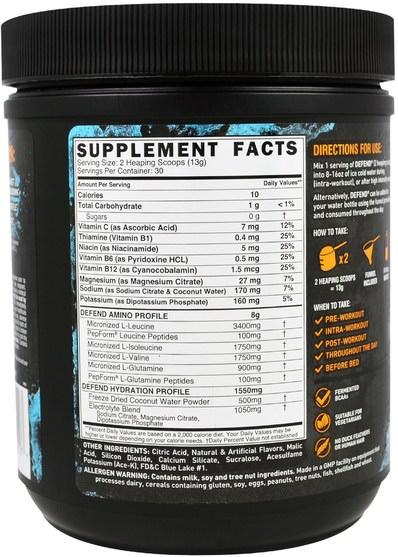 補充劑,氨基酸,bcaa(支鏈氨基酸) - Grenade, Defend BCAA, Blue Candy, 13.76 oz (390 g)