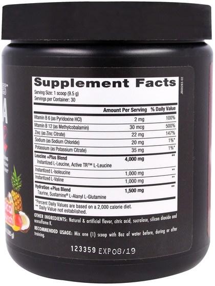補充劑,氨基酸,bcaa(支鏈氨基酸),運動,肌肉 - Betancourt, Plus Series BCAA, Tropical Punch, 10.0 oz (285 g)