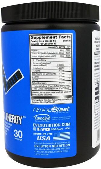 補充劑,氨基酸,bcaa(支鏈氨基酸),運動,肌肉 - EVLution Nutrition, BCAA Energy, Blue Raz, 9.5 oz (270 g)