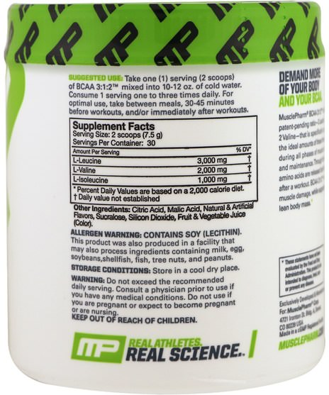 補充劑,氨基酸,bcaa(支鏈氨基酸),運動,鍛煉 - MusclePharm, BCAA 3:1:2, Blue Raspberry, 0.5 lbs (225 g)