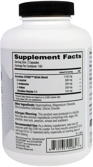 補充劑,氨基酸,bcaa(支鏈氨基酸),運動,鍛煉 - Scivation, Xtend BCAAs, 1000 mg, 200 Capsules