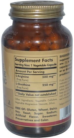 補充劑,氨基酸,精氨酸,精氨酸+ l鳥氨酸 - Solgar, L-Arginine, L-Ornithine, 500 mg/250 mg, 100 Vegetable Capsules
