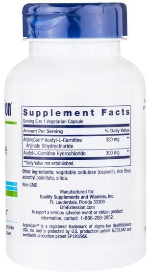 補充劑,氨基酸,左旋肉鹼,乙酰左旋肉鹼 - Life Extension, Acetyl-L-Carnitine Arginate, 90 Veggie Caps