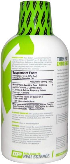 補充劑,氨基酸,左旋肉鹼,左旋肉鹼液 - MusclePharm, Liquid Carnitine Core, Citrus, 16 oz (473 ml)