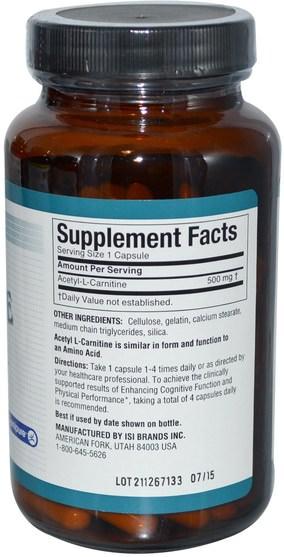 補充劑,氨基酸,左旋肉鹼 - Twinlab, Acetyl L-Carnitine, 120 Capsules