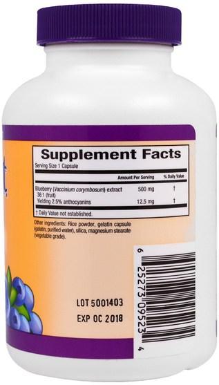 補充劑,抗氧化劑,藍莓 - Sunkist, Grower Select, Blueberry, 36:1 Extract, 500 mg, 90 Capsules