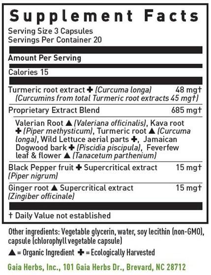 補充劑,抗氧化劑,薑黃素 - Gaia Herbs, Turmeric Supreme, Pain P.M., 60 Vegetarian Liquid Phyto-Caps
