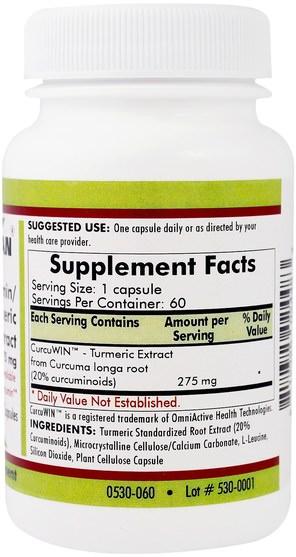 補充劑,抗氧化劑,薑黃素,薑黃 - Kirkman Labs, Curcumin/Turmeric Root Extract, 275 mg, 60 Capsules