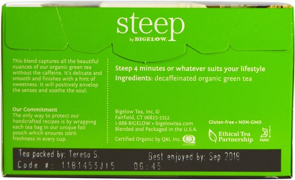補充劑,抗氧化劑,綠茶 - Bigelow, Steep, Organic Pure Green Decaffeinated Tea, 20 Tea Bags, 0.86 oz (24 g)