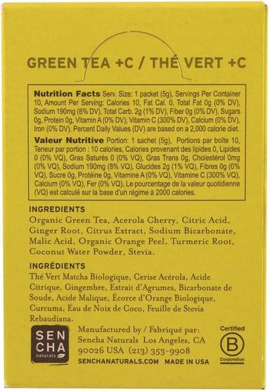 補充劑,抗氧化劑,綠茶,食品,涼茶 - Sencha Naturals, Green Tea + C, Citrus Ginger, 10 Packets, 1.8 oz (50 g) Each