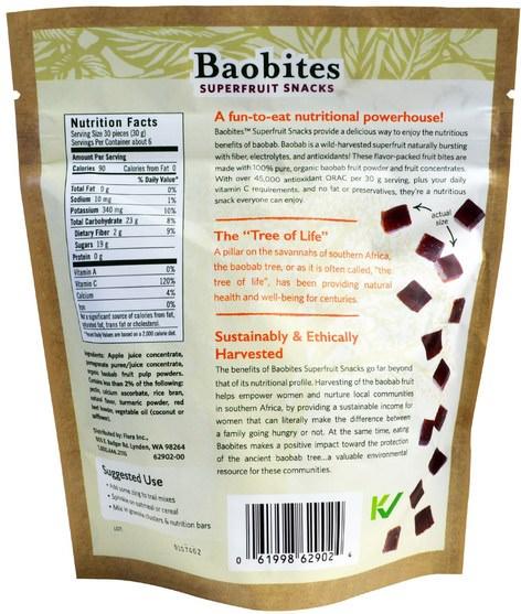 補充劑,抗氧化劑,石榴汁提取物,食物,乾果 - Flora, Baobites, Pomegranate, 6.17 oz (175 g)