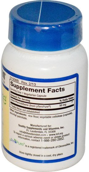 補充劑,抗氧化劑,紫檀芪 - Life Extension, pTeroPure, Pterostilbene, 50 mg, 60 Veggie Caps