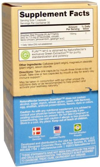 補充劑,蜂產品,蜂膠,健康,感冒和病毒,免疫系統 - NaturaNectar, Immune Guardian, 30 Veggie Caps