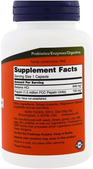 補充劑,甜菜鹼hcl,酶 - Now Foods, Betaine HCL, 648 mg, 120 Veggie Caps