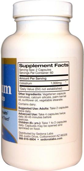 補品,牛製品,初乳 - Sedona Labs, Colostrum, 120 Veggie Caps
