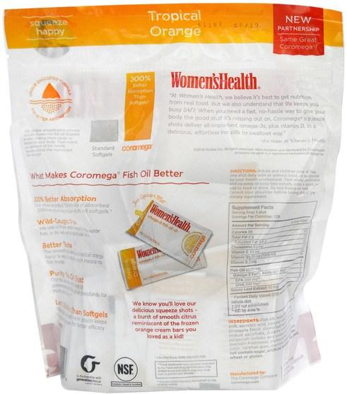 補充劑,efa omega 3 6 9(epa dha),dha,epa - Coromega, Omega-3, Tropical Squeeze +D, Tropical Orange, 120 Packets, 2.5 g Each