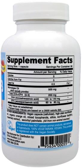 補充劑,efa omega 3 6 9(epa dha),dha,epa - Deva, Vegan, Omega-3, DHA-EPA, 200 mg, 90 Vegan Caps