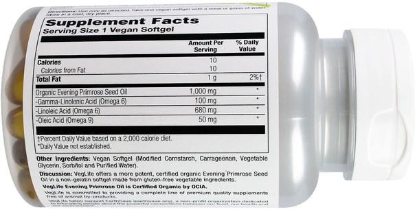 補充劑,efa omega 3 6 9(epa dha),月見草油,月見草油軟膠囊 - VegLife, Evening Primrose, 1000 mg, 60 Vegan Softgels