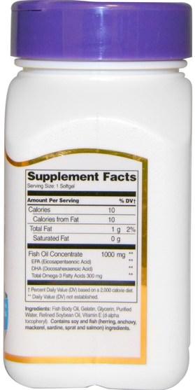 補充劑,efa omega 3 6 9(epa dha),魚油,魚油軟膠囊 - 21st Century, Fish Oil, 1000 mg, 60 Softgels