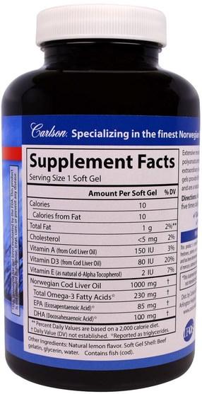 補充劑,efa omega 3 6 9(epa dha),魚油 - Carlson Labs, Cod Liver Oil Gems, Lightly Lemon, 1000 mg, 150 Soft Gels
