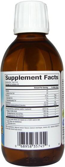 補充劑,efa omega 3 6 9(epa dha),魚油液體 - Natural Factors, SeaRich Omega-3, 750 mg EPA/500 mg DHA, with Vitamin D3, Lemon Meringue, 6.76 fl oz (200 ml)