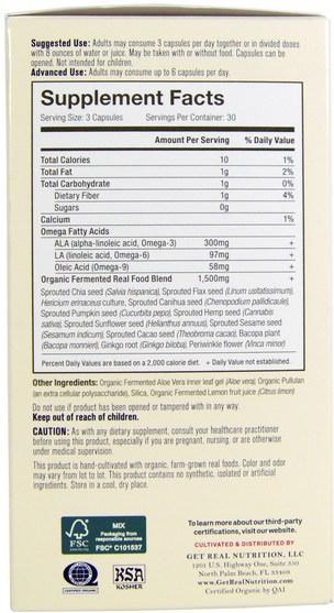 補充劑,efa歐米茄3 6 9(epa dha),歐米茄369粒/標籤 - Get Real Nutrition, Real Omega Brain, 90 Organic Capsules