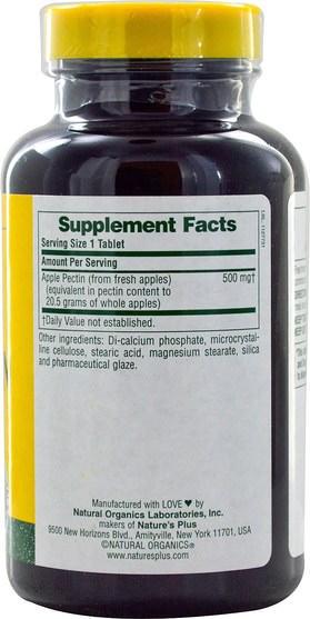 補充劑,酶,纖維,蘋果果膠 - Natures Plus, Apple Pectin, 500 mg, 180 Tablets