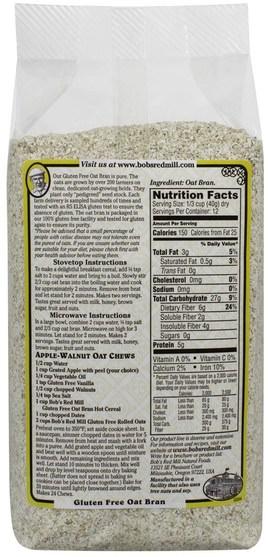 補充劑,纖維,燕麥麩,食品,食品,穀物 - Bobs Red Mill, Oat Bran, Gluten Free, 18 oz (510 g)