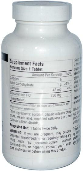 補充劑,氨基葡萄糖 - Source Naturals, Vegetarian Glucosamine, 120 Tablets