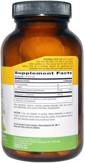 補充劑,茶氨酸 - Country Life, L-Theanine, 100 mg, 60 Smooth Melts