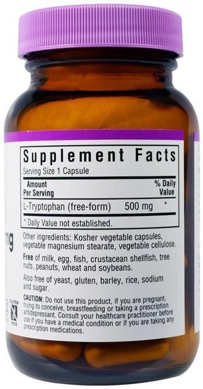 補充劑,l色氨酸,氨基酸 - Bluebonnet Nutrition, L-Tryptophan, 500 mg, 60 Veggie Caps