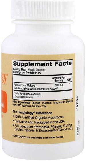 補充劑,藥用蘑菇,蘑菇膠囊,adaptogen - Fungiology, Full-Spectrum Grifola Frondosa (Maitake), Certified Organic Cellular Support, 90 Veggie Plantcaps