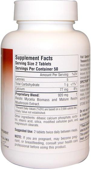 補充劑,藥用蘑菇,靈芝蘑菇,adaptogen - Planetary Herbals, Reishi Mushroom, Full Spectrum, 460 mg, 100 Tablets