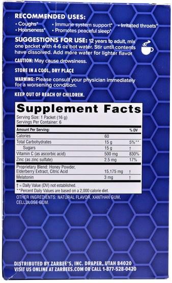 補充劑,褪黑激素3毫克 - Zarbees, Cough & Throat Relief, Nighttime Drink, Natural Honey Lemon Flavor, 6 Packets, 3.4 oz (96 g)