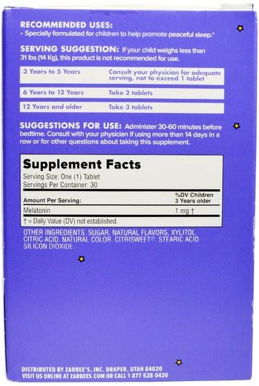 補充劑,褪黑激素液,兒童健康,兒童草藥 - Zarbees, Childrens, Sleep with Melatonin Supplement, Natural Grape, 30 Chewable Tablets