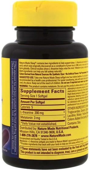 補充劑,褪黑激素,睡眠 - Nature Made, Melatonin + L-Theanine, 200 mg, 60 Softgels
