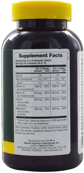 補品,礦物質,鈣,咀嚼鈣 - Natures Plus, Cal/Mag/Vit D3, Chocolate, 60 Chewables
