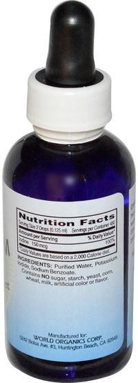 補充劑,礦物質,碘,碘化鉀 - World Organic Liquid Potassium Iodide, 2 fl oz (59 ml)