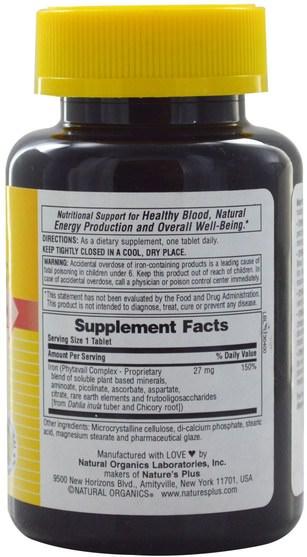 補品,礦物質,鐵 - Natures Plus, Dyno-Mins, Iron, 27 mg, 90 Acid-Resistant Tablets